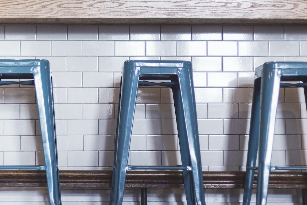 blue plastic stools