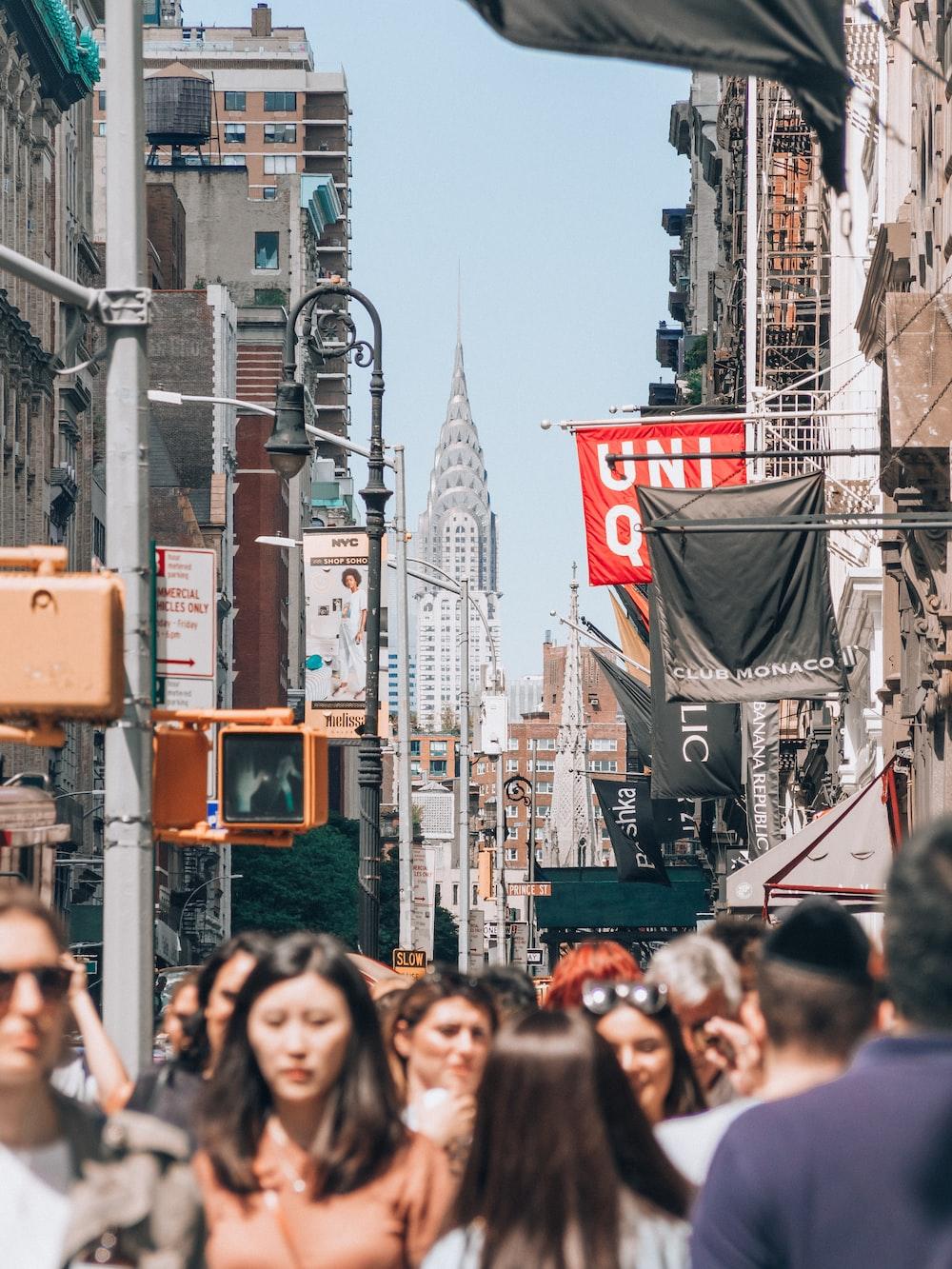 people near buildings