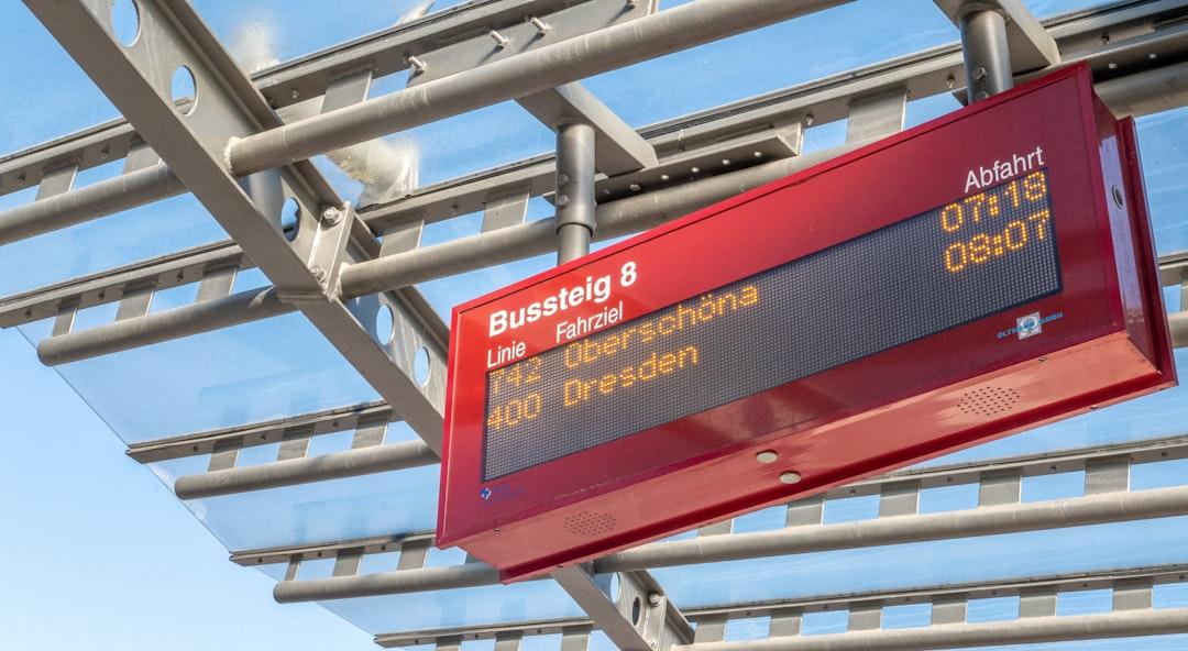 Get off the bus in Vilnius Airport