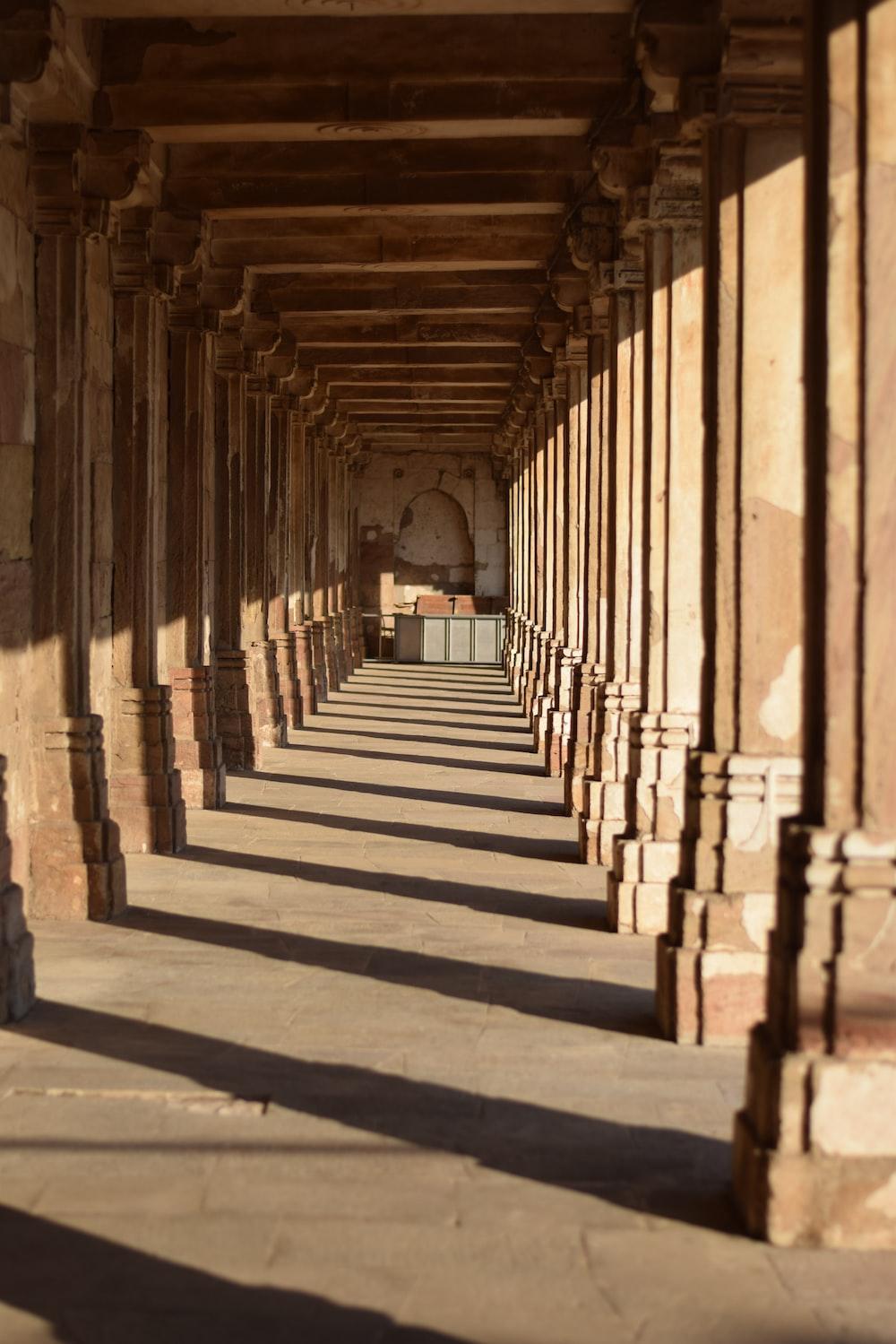 brown concrete column