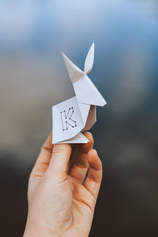 kangaroo origami on person's hand