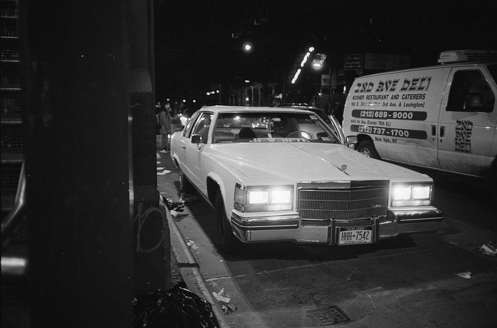 grayscale classic vehicle