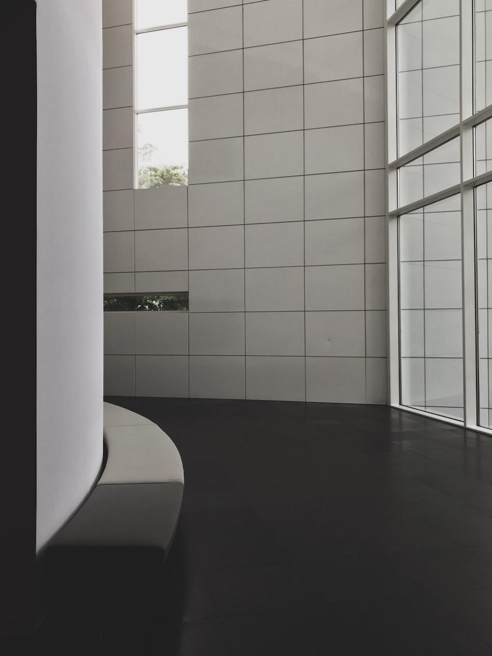 empty hallway near glass wall