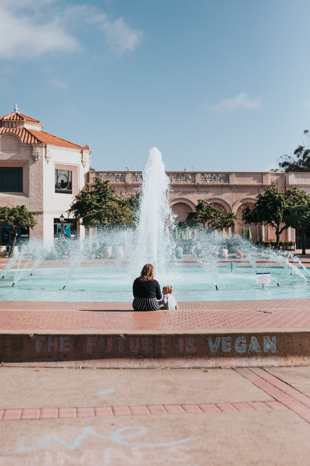person standing in front of fountain