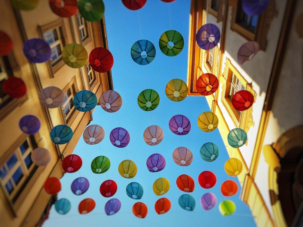 assorted-color japanese lantern lot