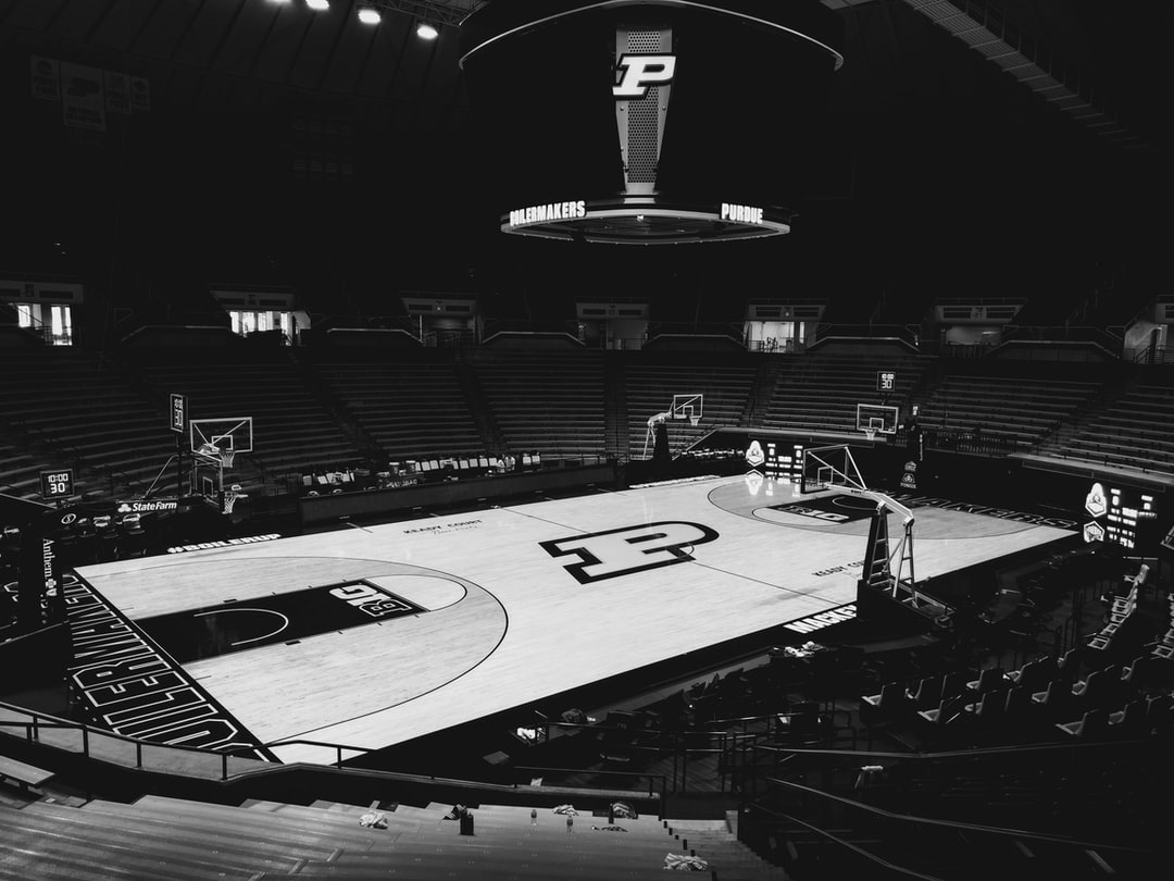 An empty Mackey Arean, home of the Purdue Boilermakers basketball teams.