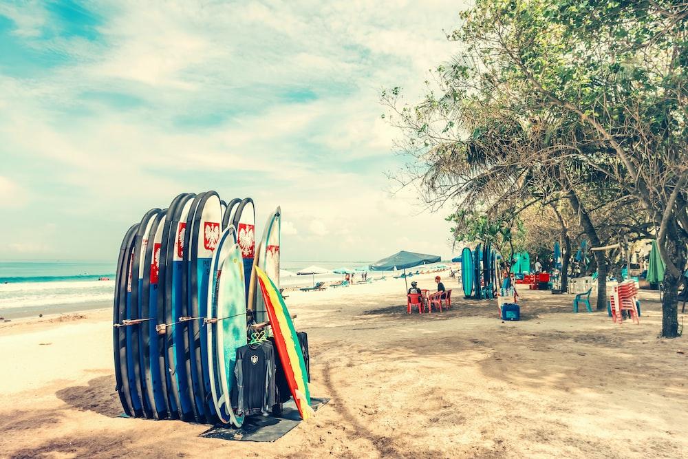 assorted-color surf board lot