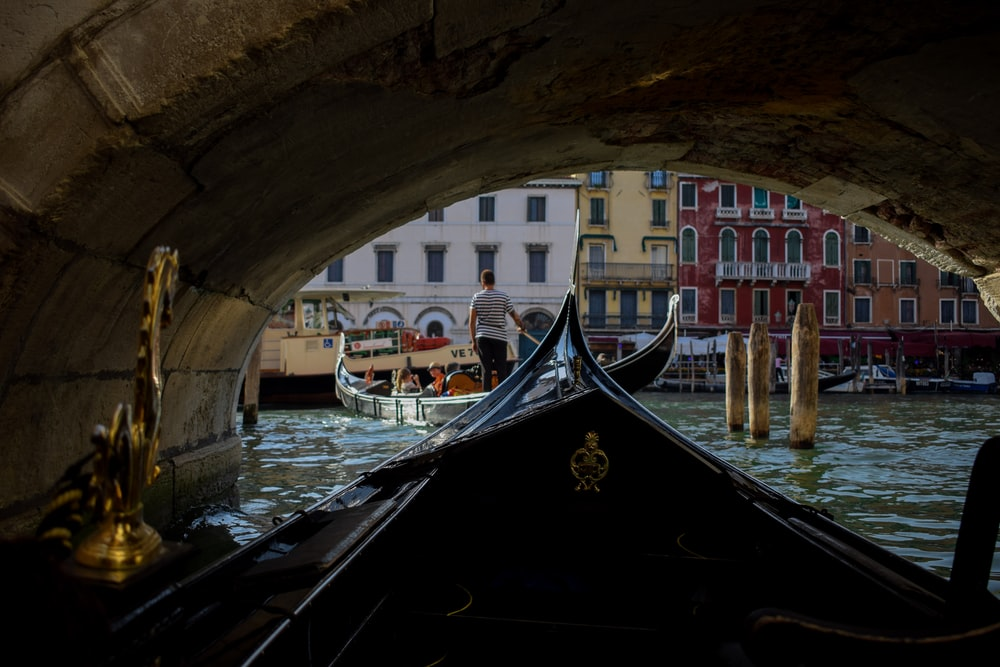 man standing on boat on Venice
