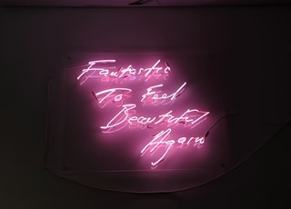 pink neon sign