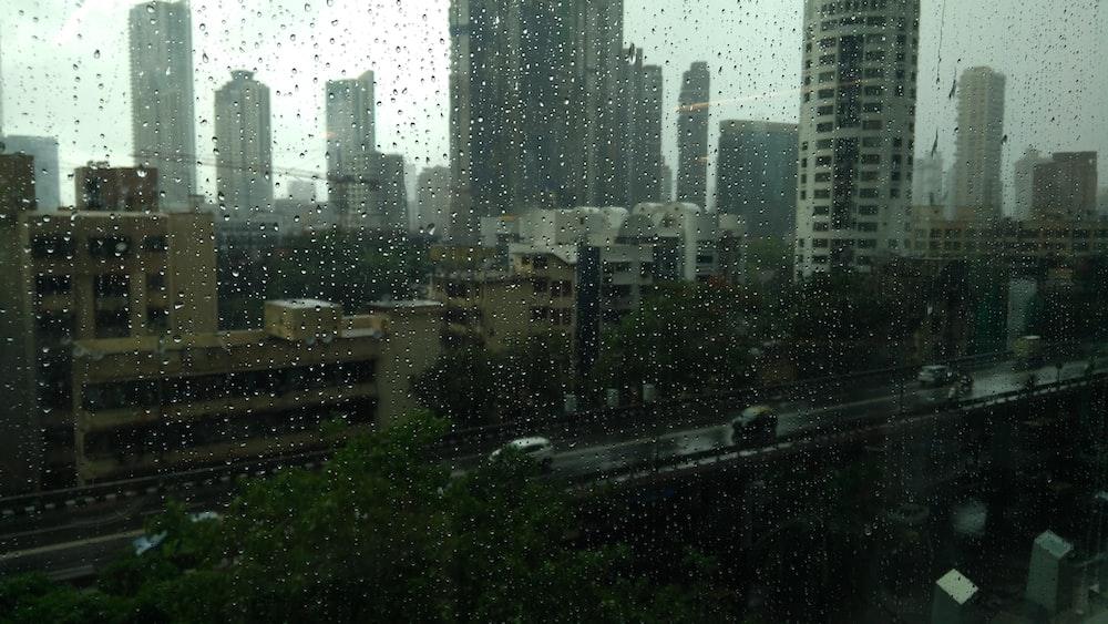 city during rain