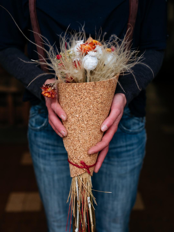 A beautiful dry flowers arrangement at Folles Avoines, a florist in Bordeaux, France.