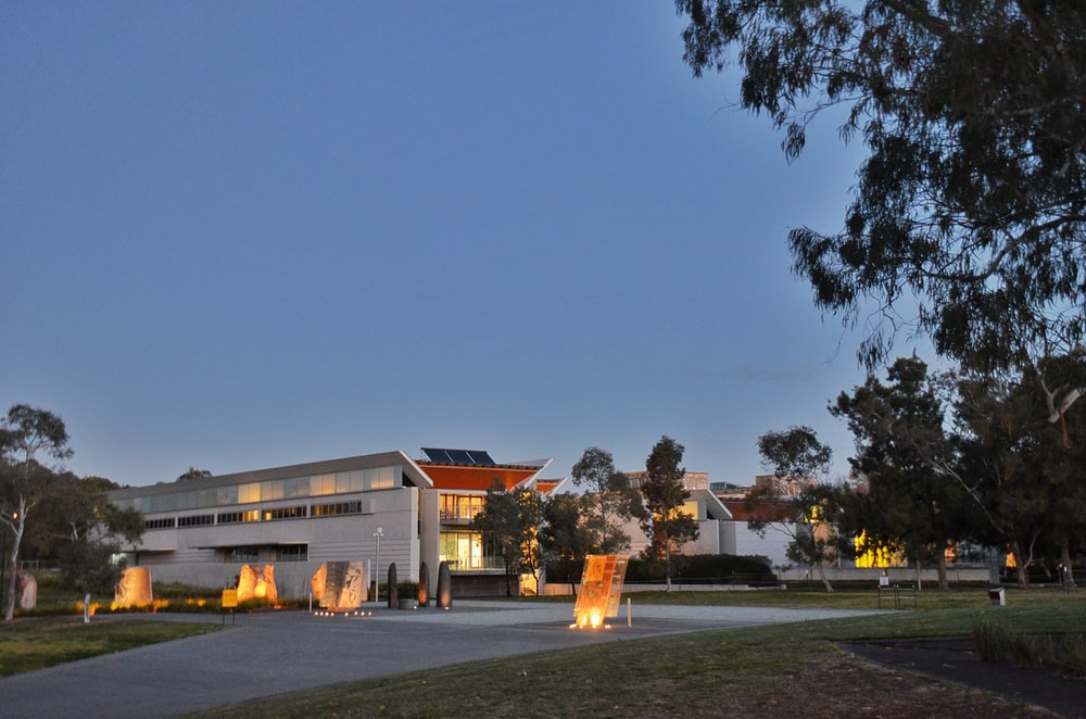 architectural photography of white and orange house