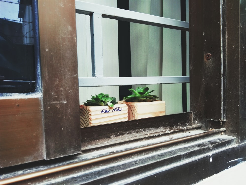 two brown pots on window