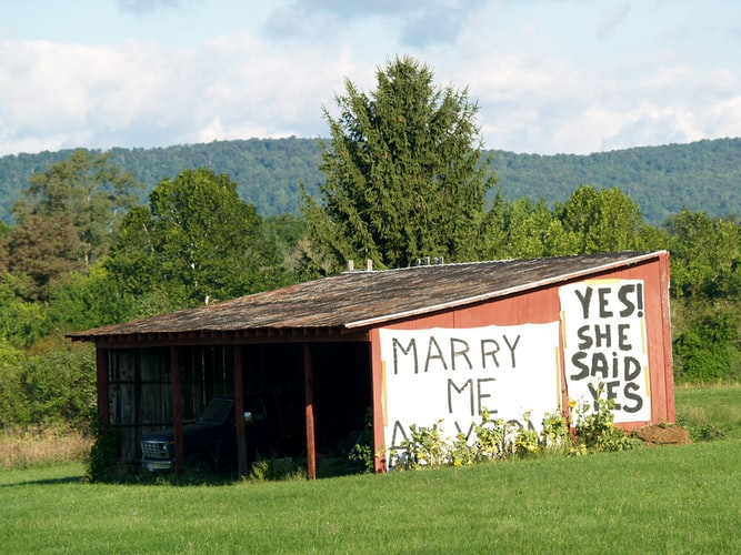 """a ramshackle shed in a field. On the side someone has painted """"marry me allyson"""" and """"yes! she said yes"""""""
