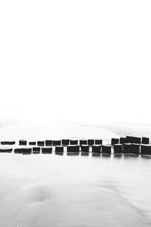 pile of wooden pillars between snowfield