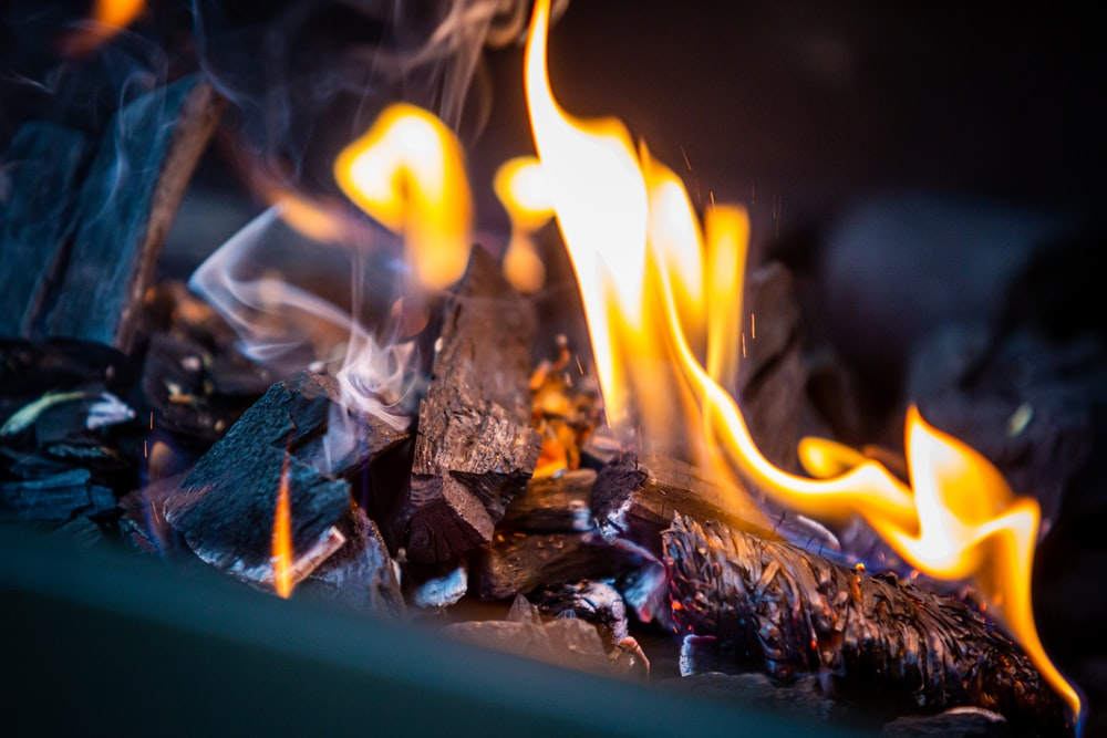lit charcoal bonfire