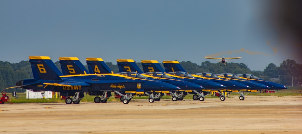 blue-and-yellow airplanes