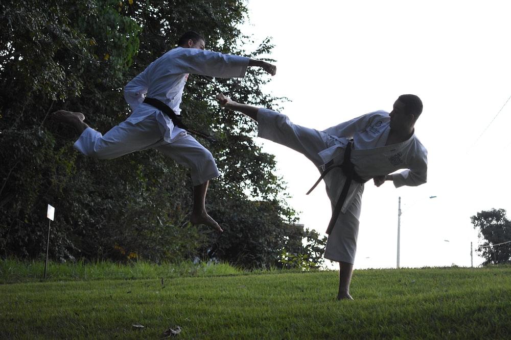 men doing karate in park