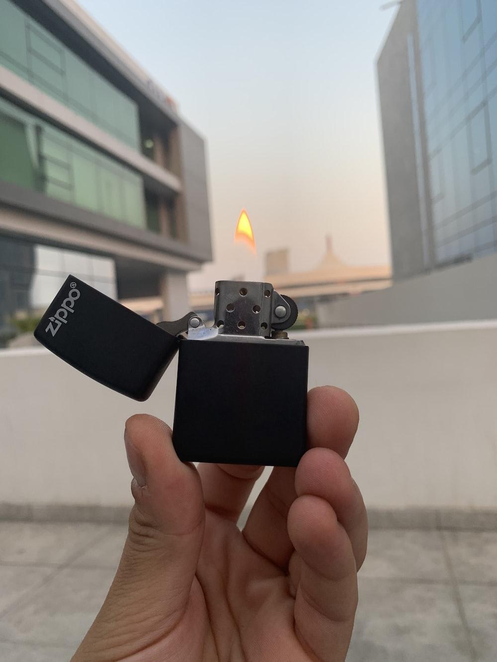 black Zippo flip lighter