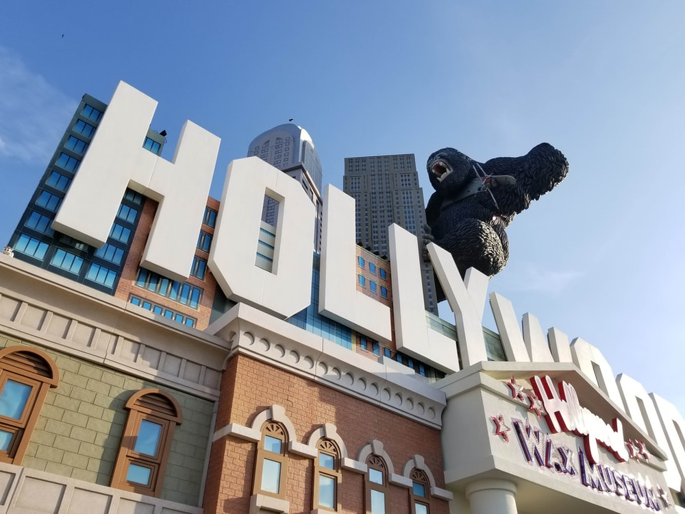 low-angle photography of hollywood building
