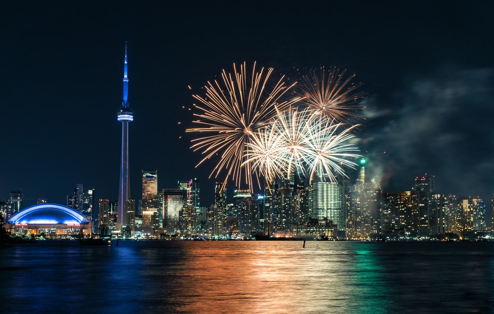 fireworks at the city during night