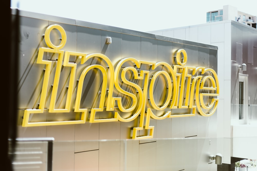 Inspire LED signage on building during day