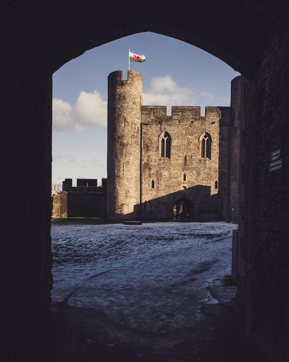 grey castle entrance