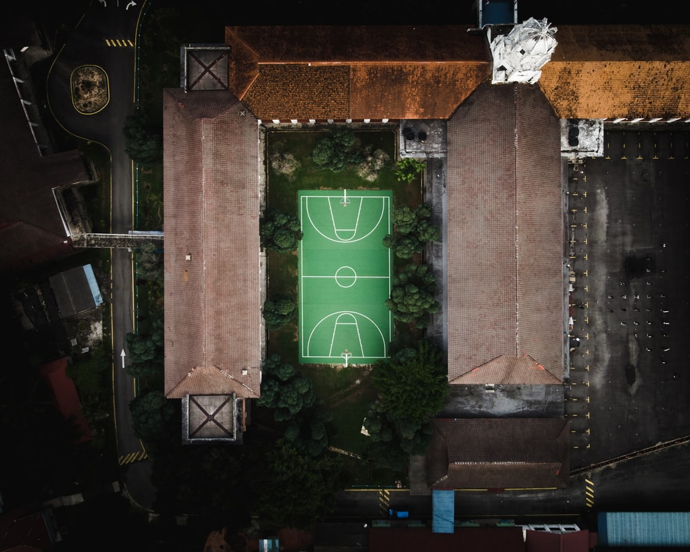 empty green basketball court surrounded by green trees