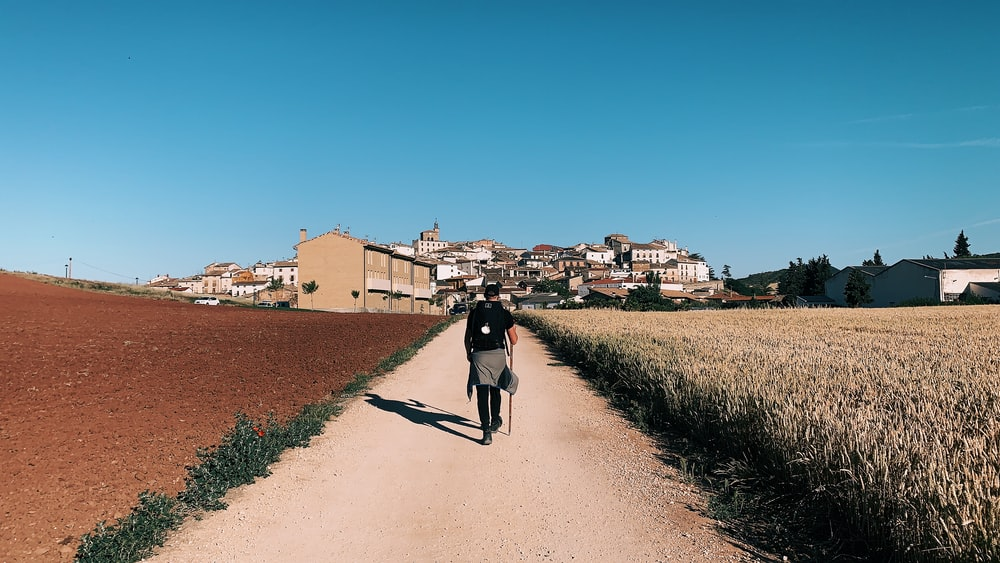 person in black shirt walking on dirt road between fields