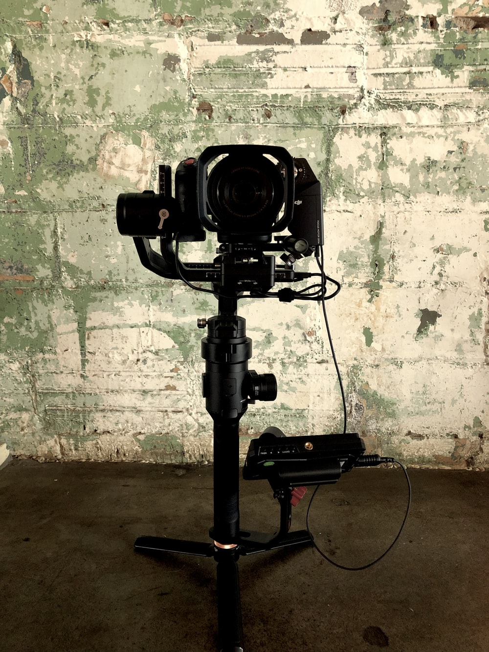 black camera with attachments