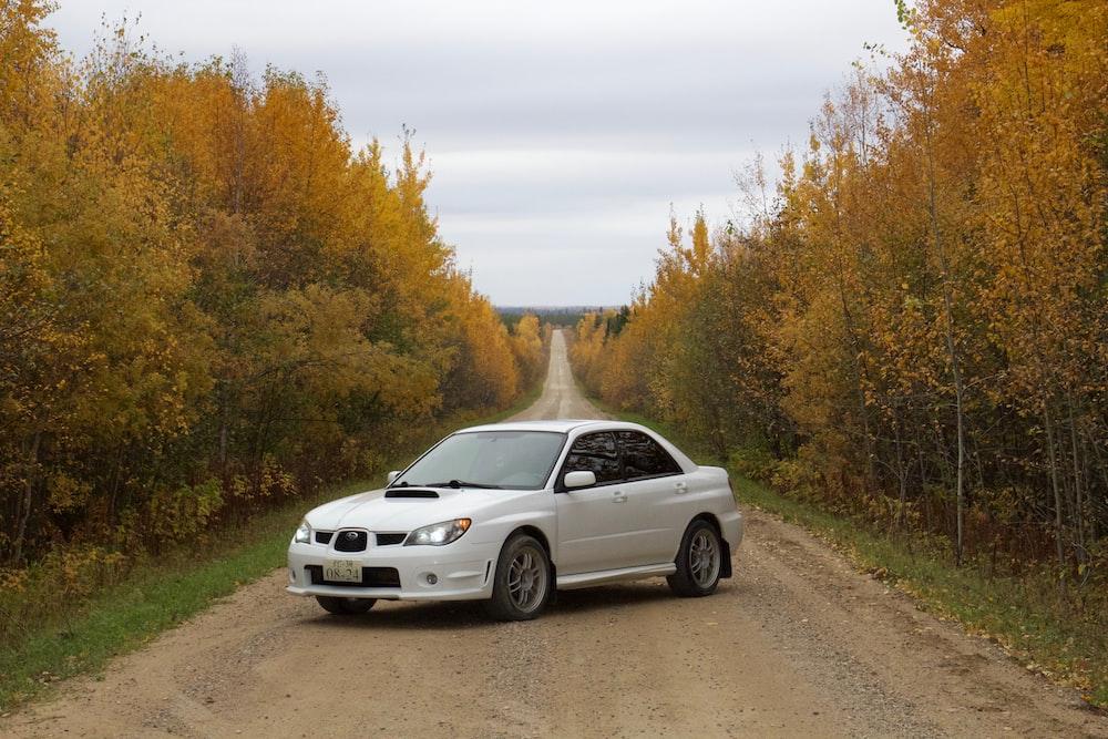 white Subaru Impreza WRX sedan parked diagonally in middle of dirt track during daytime
