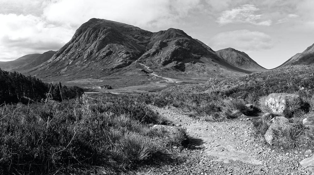 black and white photo of mountain