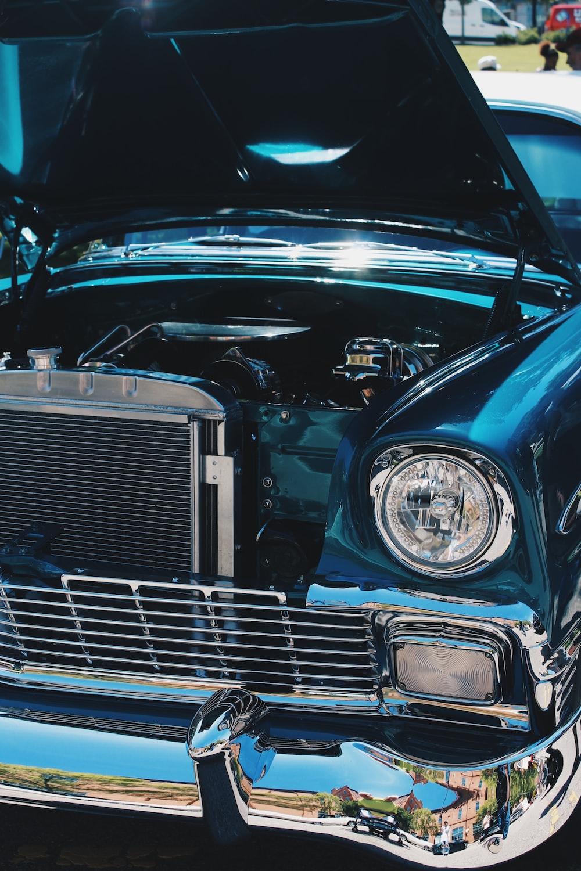 blue and chrome classic car