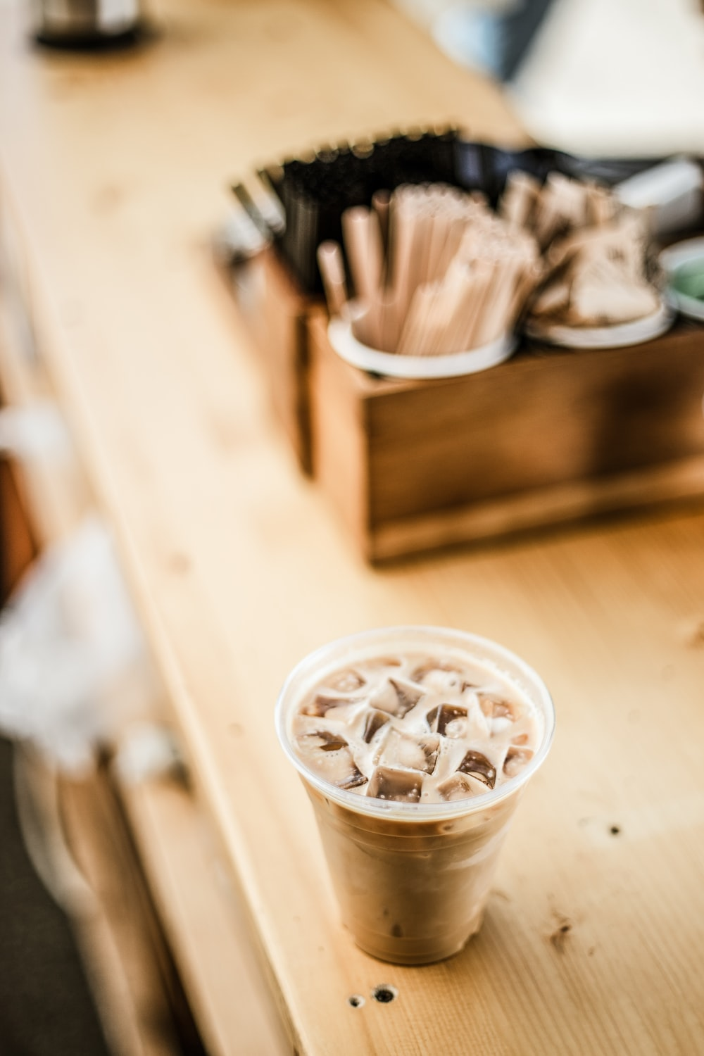 coffee jelly in disposable cup on table