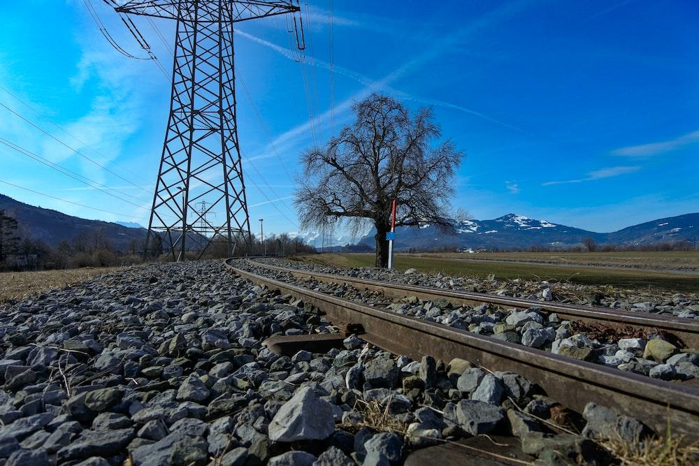 landscape photo of a train railway