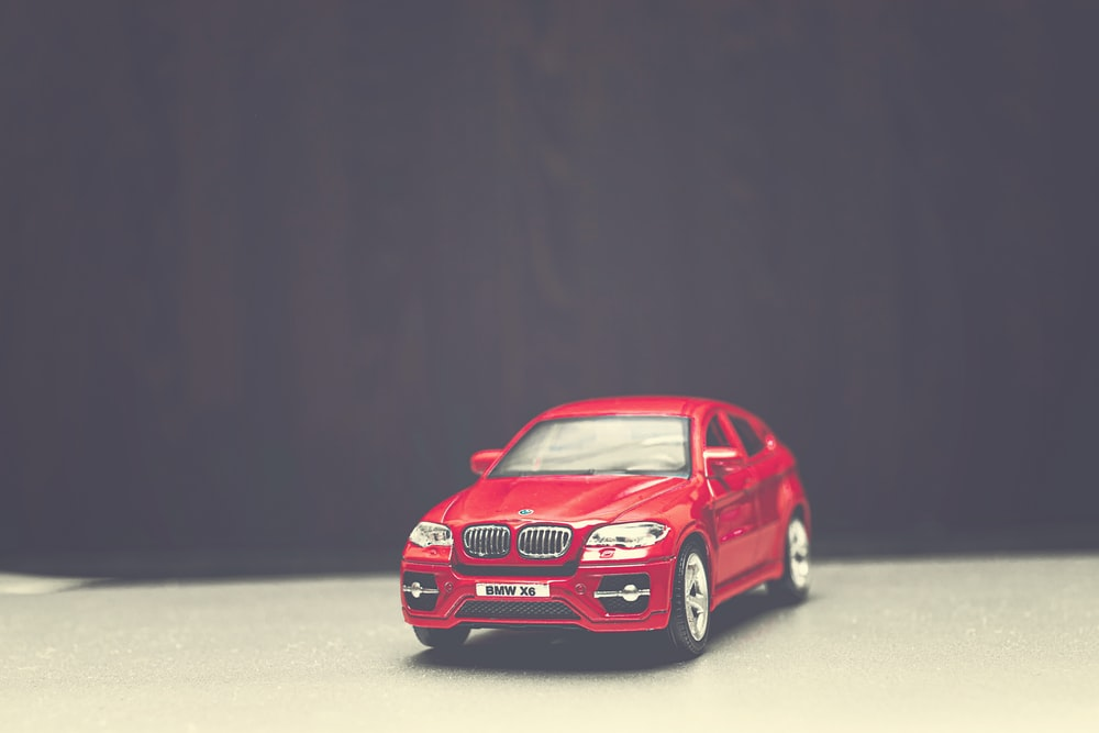 red BMW vehicle scale model