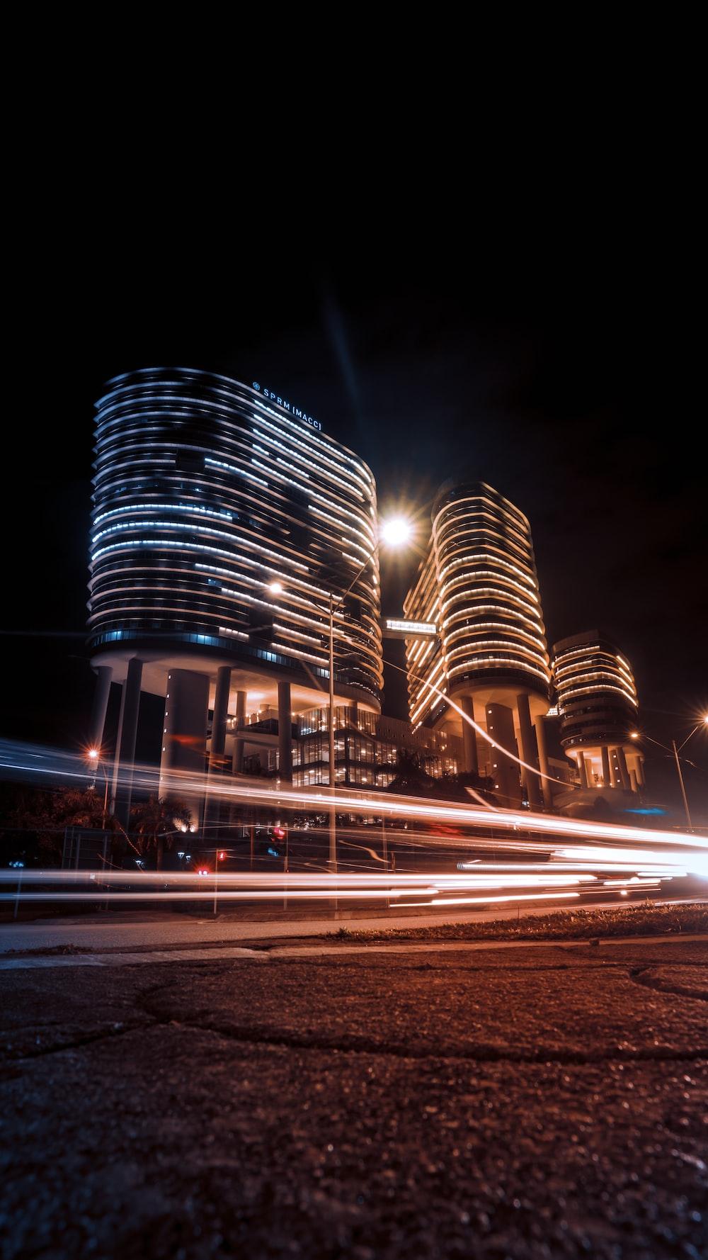 black concrete building during nighttime