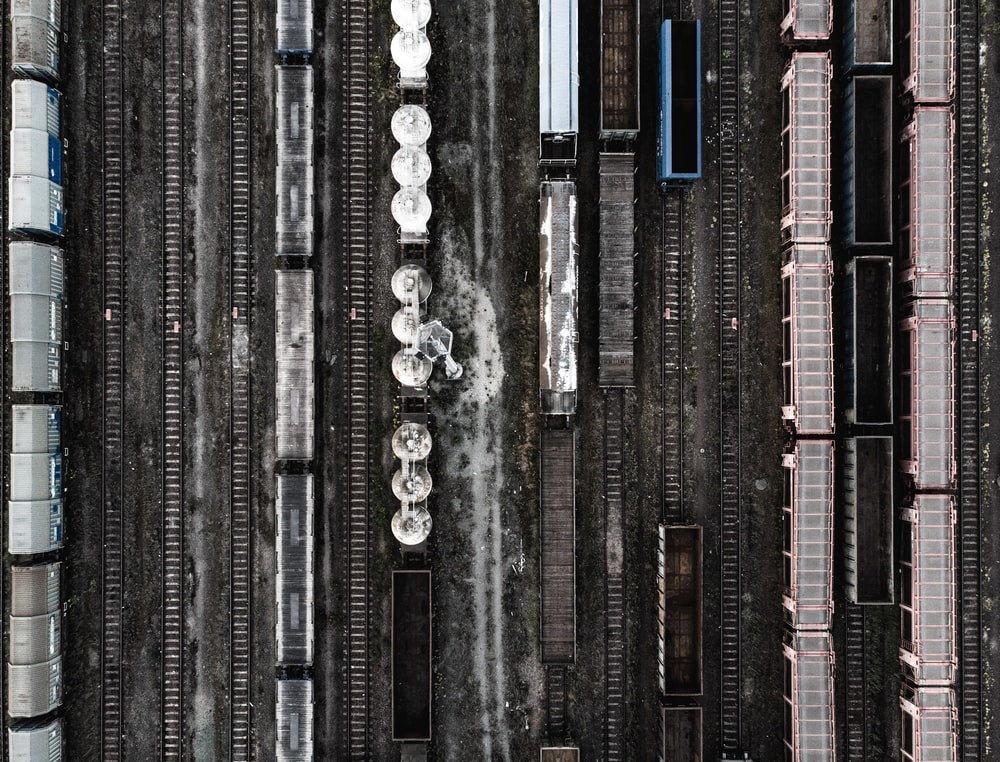 aerial photography of trains on railway