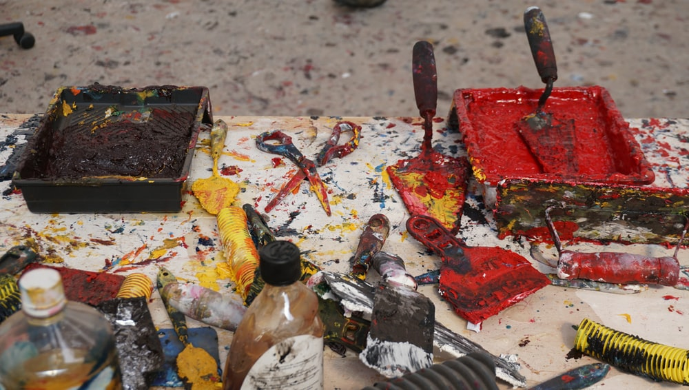 paint tool lot on table