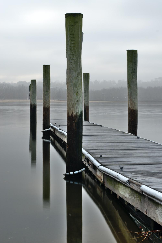 brown wooden dock photo across body of water