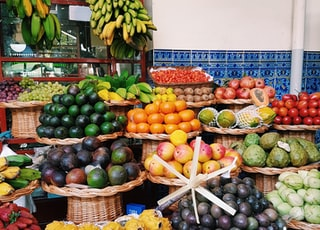 assorted fruits on display