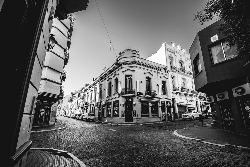greyscale photography of buildings
