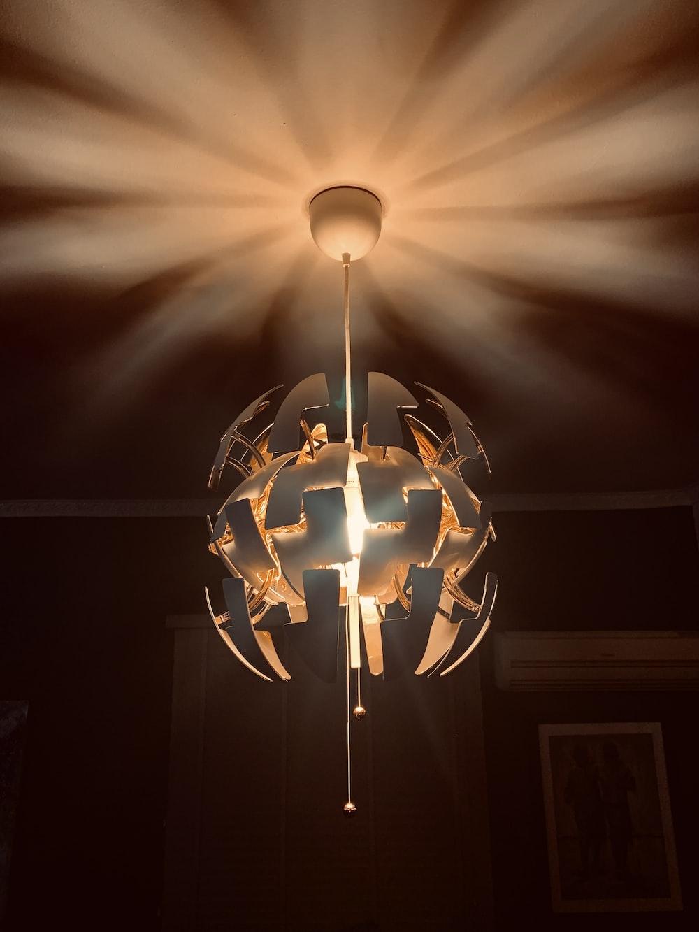 white pendant lamp turned-on