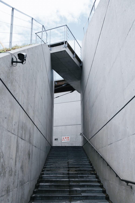 empty grey concrete stairway