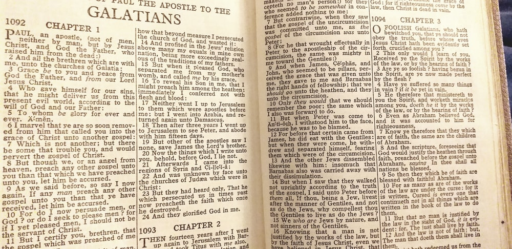 open page of a Bible
