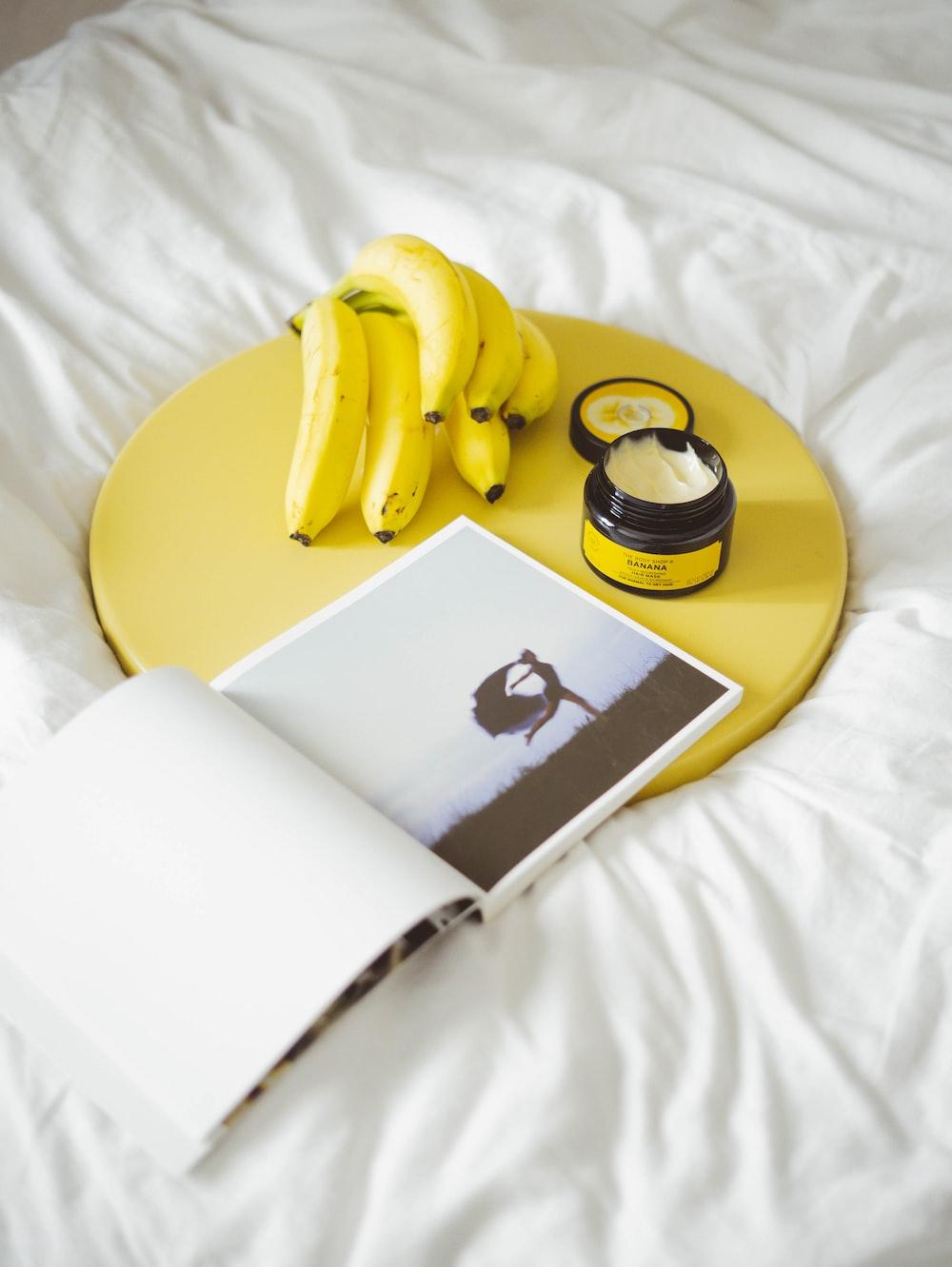 yellow banana on bed