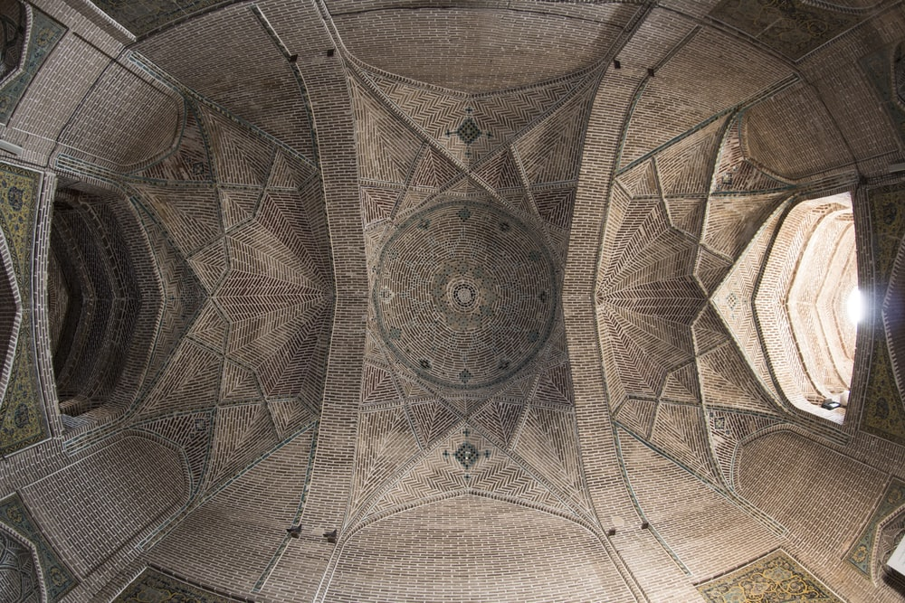 architectural photography of brown monument ceiling