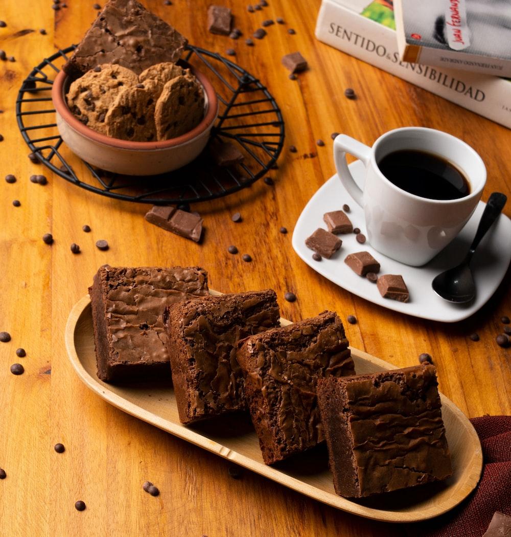 brownies in brown tray