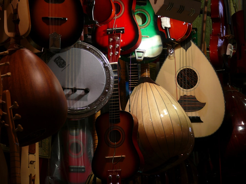 assorted guitar type musical instruments