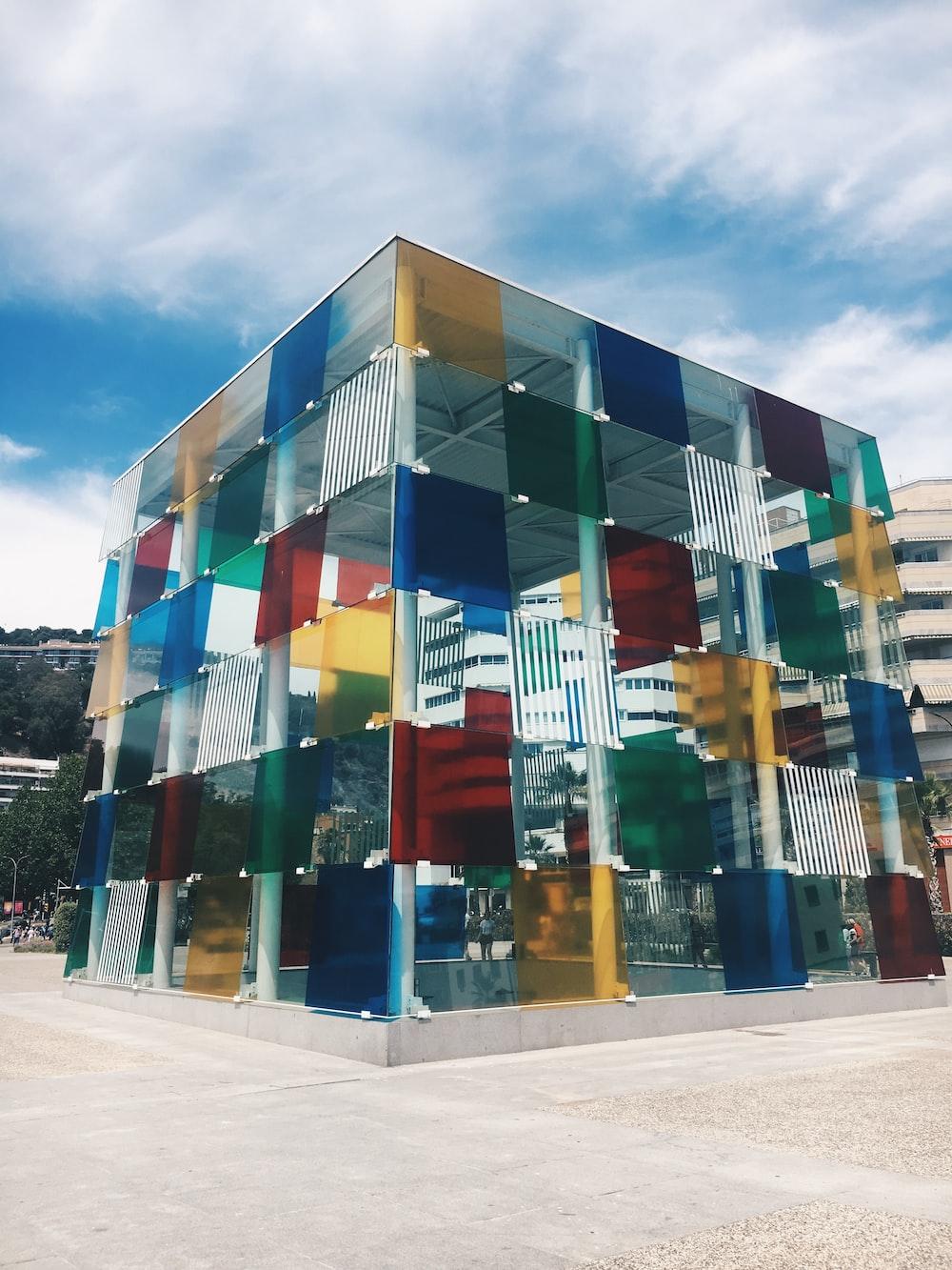 multicolored glass building